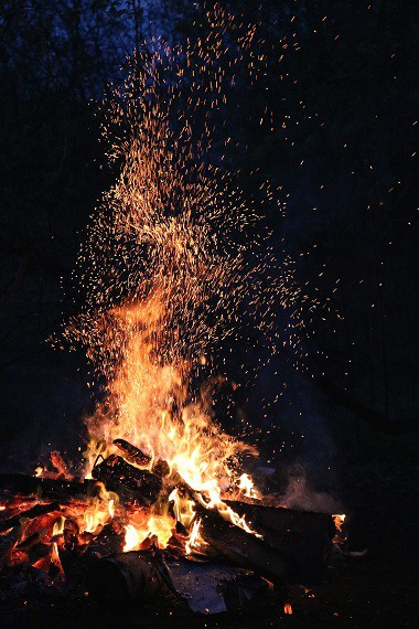 Campfire Sparks from Moisture in Wood