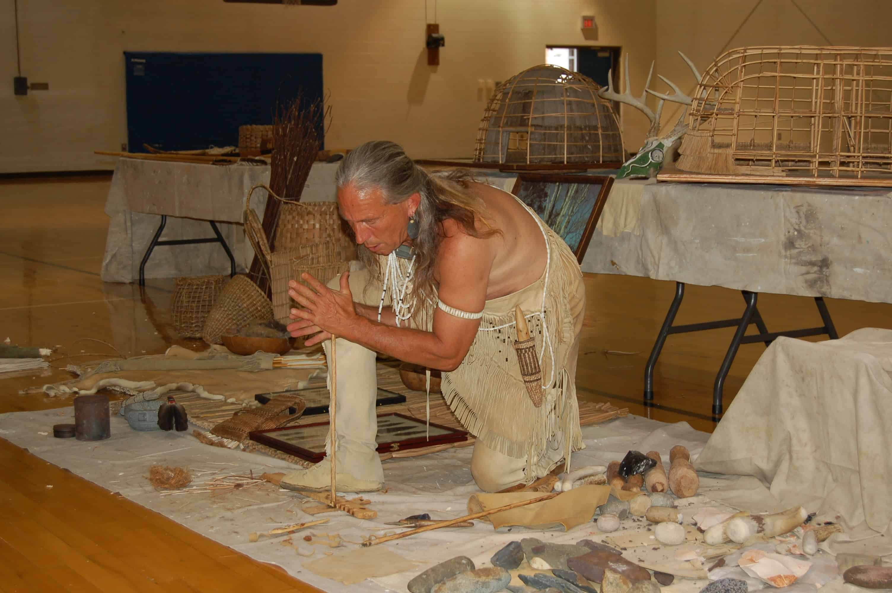 Native American starting fire hand drill